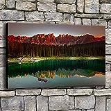 zgwxp77 Impresiones de la Lona Pintura decoración del hogar Bosque Karersee Lago árbol reflexión Imagen Arte Paisaje en la Pared de la Sala de estar60cmx90cmx1pcs
