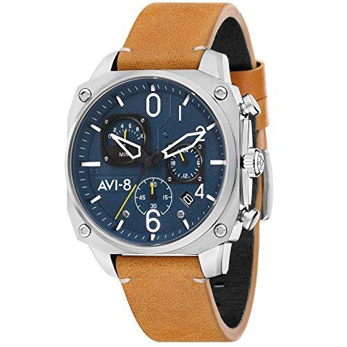 AVI-8 - Reloj Casual de Cuarzo para Hombre, Acero Inoxidable y Cuero, Color marrón (Modelo: AV-4052-07)