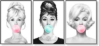 SJZS Pinturas Decorativas Audrey Hepburn Bubble Gum Arte de la Pared Lona de la Manera Poster Brigitte Bardot y Marilyn Monroe Impresiones de la Pintura Cuadros Decoración