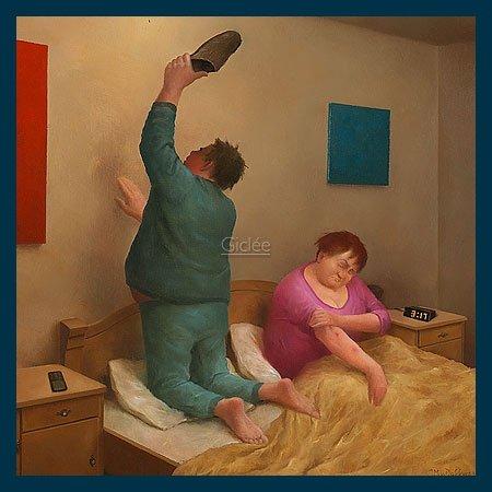 Bild mit Rahmen Marius van Dokkum - Mosquito - Holz blau, 50 x 50cm - Premiumqualität - , Karikatur, altes Ehepaar, Mücke, Mückenstiche, Mückenjagd, Schlaf, Nachtruhe, lustig.. - MADE IN GERMANY - ART-GALERIE-SHOPde