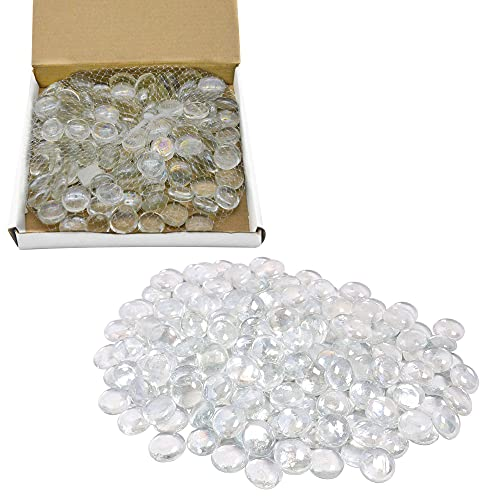 NEEZ - Ciottoli di vetro per decorazione acquario, vasi e decorazioni per la casa, pietre rotonde, pepite di mosaico, gemme di diverse dimensioni, Chiari ciottoli-100pcs/500gm