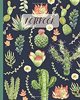 Notebook: Cactus & Succulent Watercolor - Lined Notebook, Diary, Track, Log & Journal - Cute Gift Idea for Boys Girls Teens Men Women (8