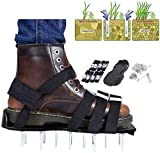 ZIONYA Lawn Aerator Shoes With 8 Adjustable Metal Straps and 26 Spikes Universal Size Fits All, Lawn Spike Sandals Can Aerate Lawn Soil (Black)