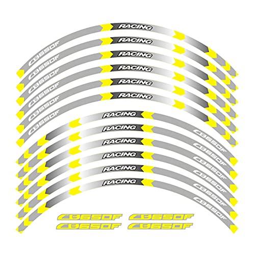 Wfrspavey Etiqueta de la Rueda de la Motocicleta Pegatinas de la Raya del Borde Compatible con Ho*n*da CB650F hnyxs (Color : 7)
