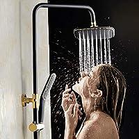 BINGFANG-W バスルーム製品過給シャワーをするために、より低いシャワーの蛇口ヨーロッパスタイルのバスルームのフル銅象嵌ゴールドアンティークブラックシャワーヘッドセットの蛇口のシンプルで実用的な上昇させることができます 浴室用水栓