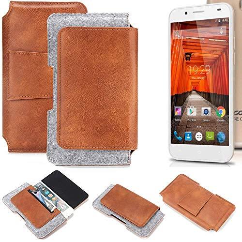 K-S-Trade® Schutz Hülle Für Swees Godon X589 Gürteltasche Gürtel Tasche Schutzhülle Handy Smartphone Tasche Handyhülle PU + Filz, Braun (1x)