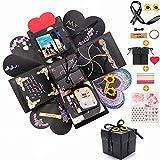 Churidy Kreative Überraschung Explosion Box DIY Geschenk Handgemachtes Scrapbook und Foto-Album Geschenkbox, Geburtstag Jahrestag Valentine Hochzeit (Schwarz)
