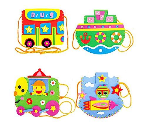 Lot de 4 kits de couture Do It Yourself Sacs d'école pour enfants Cartoon véhicule