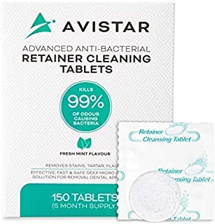 Avistar Retainer & Denture Cleaner Tablets: 150 Denture or Retainer Cleaning Tablets to Remove Odor, Stains & Plaque from Retainers, Dentures, Night Guards or Mouth Guard - Mint Flavor, 5 Month Supply