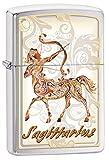 Zippo Sagittarius Outdoor Indoor Windproof Lighter Custom Personalized Engraved Message Engraving on Backside