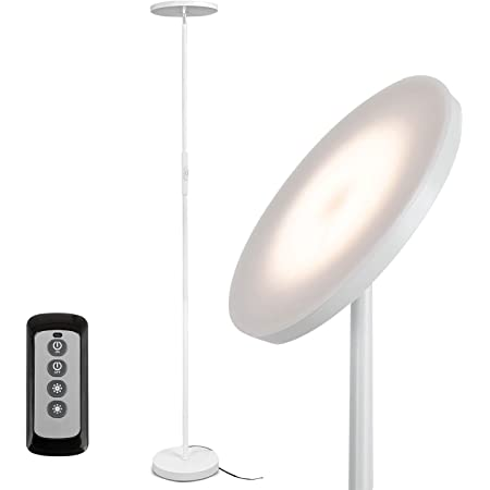 Joofo Floor Lamp,30W/2400Lume Sky LED Modern Torchiere 3 Color Temperatures Super Bright Floor Lamps-Tall Standing Pole Light with Remote & Touch Control for Living Room,Bed Room,Office ,Pearl White
