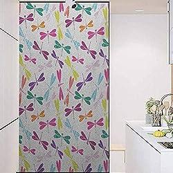 wonderr BathroomPrivacyWindowFilmGlassSticker, Dragonfly Kids Nursery Childhood Playroom Birthday Bunc, Bathroom Office Meeting Room Living Room Window Membrane, W17.7xH35.4 Inch
