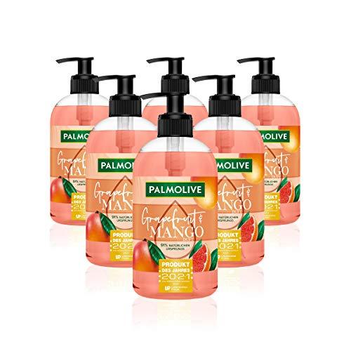 Palmolive Flüssigseife Botanical Dreams Grapefruit & Mango, 6er Pack (6 x 500 ml) - Seife zur sanften Reinigung der Hände mit belebendem Gefühl, dermatologisch getestet