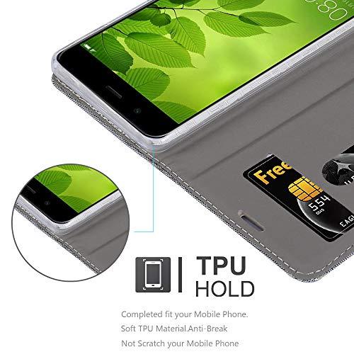 Cadorabo Hülle für Huawei NOVA 2 - Hülle in HELL GRAU BRAUN – Handyhülle mit Standfunktion und Kartenfach im Stoff Design - Case Cover Schutzhülle Etui Tasche Book - 4