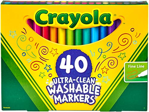 Crayola 40Count Ultra-Clean Fine Line Markers; Washable, Fine Tip for Details, Stocking Stuffer, Gift
