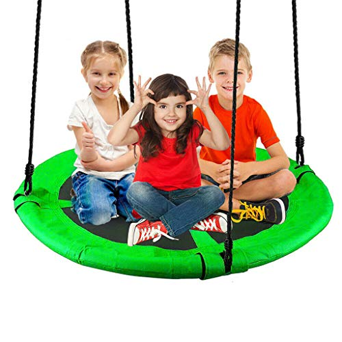 Saucer Tree Swing, 40' Outdoor Round Tree Swing for Kids, Rope Swing with Children Swing with Hanging Kit, Waterproof, Easy to Install, Heavy Duty 660 lbs Safety Disk Swing (Green)