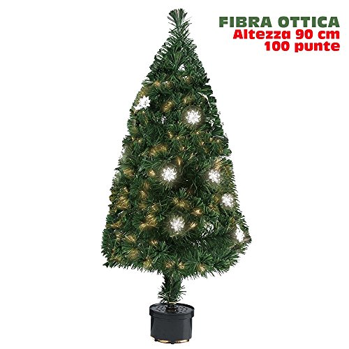 BAKAJI Albero di Natale in Fibra Ottica Modello Flower Alto 90 cm con 100 Punte Luminose e 12 Fiori Colore Verde