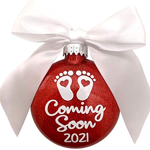 Coming Soon! 2021 Baby Feet Birth Announcement Glass Glitter Christmas Ornament (Red)