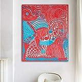 N / A Yayoi Kusama Obras de Arte Rojo Arte Abstracto Lienzo Pintura Arte de la...