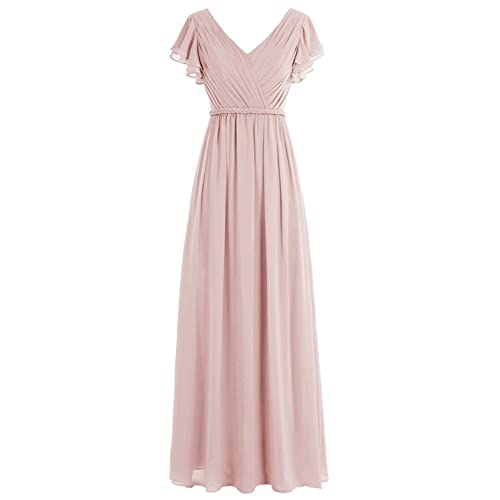 a982e97c5a Belle Lady Women s Pleated Long Bridesmaid Dresses Chiffon Cap Sleeves Prom  Gown GS40