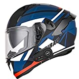 Bluetooth Modulares Casco Moto Moto Casco Integral con HD Anti-Fog Doble Visera, Scooter Biker Racing Casco ECE Homologado para Mujer Hombre Adultos (Walkie-Talkie Bluetooth, L)