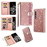 Xiaomi Cases For Xiaomi Mi 10 5G / Mi 10 Pro 5G Multi-card Slots Starry Sky Laser Carving Glitter Zipper Horizontal Flip Leather Case with Holder & Wallet & Lanyard Xiaomi Cases ( Color : Rose Gold )