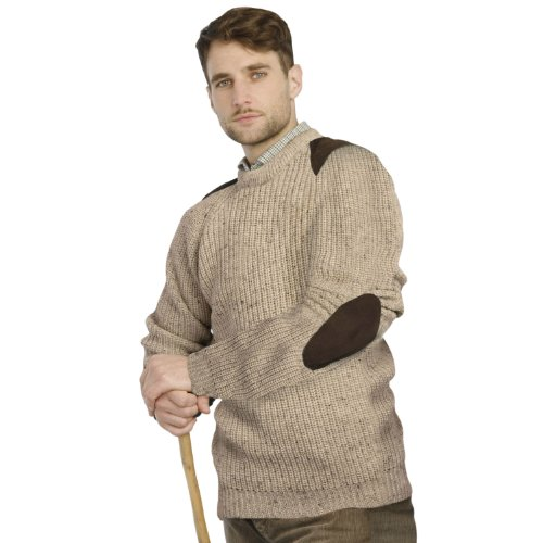 Fishermans Rib Sweater with Patches, Skiddaw, Medium
