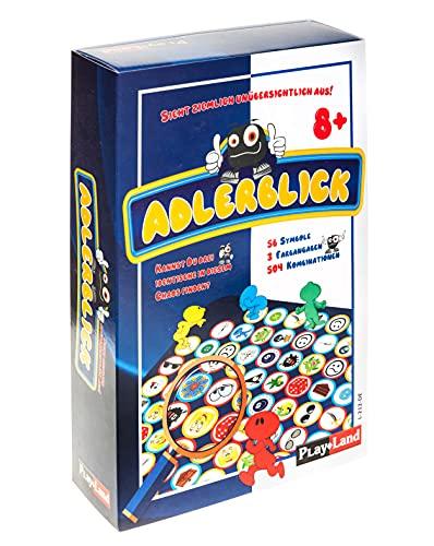 Play Land Adlerblick Reaktionsspiel - Lustiges Gesellschaftsspiel & Brettspiel für Kinder & Erwachsene - Gemeinschaftsspiel für 2 bis 4 Personen - Kartenspiel mit Spielfeld, Würfel & Figuren