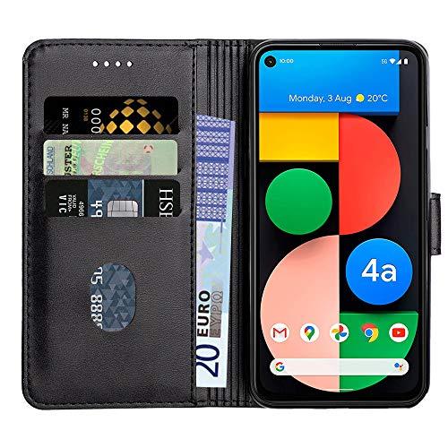Baiyian Ledertasche Brieftasche Schutzhülle Flip Hülle für Google Pixel 4A, Schwarz