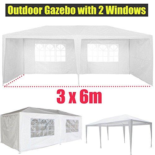 3x6M tuinpaviljoen met 4 zijwanden 2 ramen waterdichte zonnescherm stevige partytent voor outdoor activiteiten picknick camping bruiloft vissen, wit