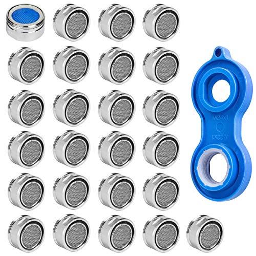 25 Stück Strahlregler M24, Wasserhahn sieb Einsatz, Mischdüse mit Edelstahl Filter inkl. Mischdüsenschlüssel, für Wasserhähne