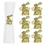 Bettying Servilleteros de oro y plata con diseño de conejos de Pascua, para decoración de mesa, para fiestas de Pascua, bodas, fiestas, cenas y días festivos