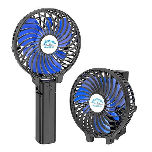 BIAOZH Ventilador pequeño de mano de moda, pequeño ventilador de refrigeración USB, recargable, ventilador eléctrico portátil con pulverizador de agua para viajes/campamentos/al aire libre (negro)