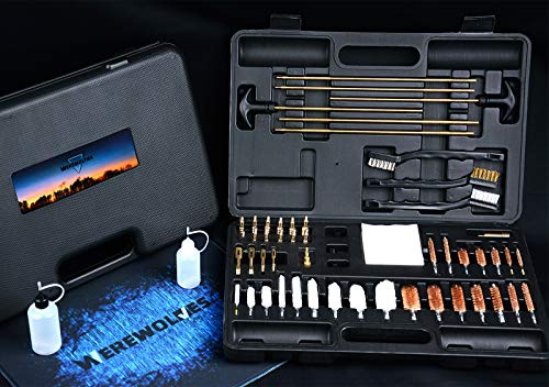 Universal Gun Cleaning Kit, Rifle Pistol Handgun Shotgun Shooting Gun Cleaning Kit Suitable for All Caliber - Gun Pad, Cotton mop, Bronze Bore Brush, Brass Jag, Brass Slotted Tips, Nylon Brushes