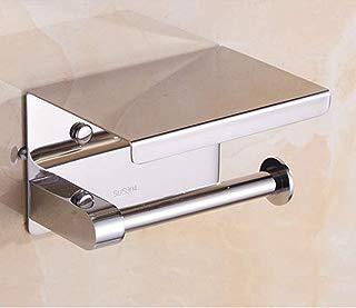 Gudui Self Adhesive Toilet Paper Holder Stainless Steel Tissue Paper Roll Towel Holder, 3M Self Adhesive Brushed Nickel Bathroom Lavatory Toilet Paper Holder Stick Wall Mount for Bathroom (Brushed)