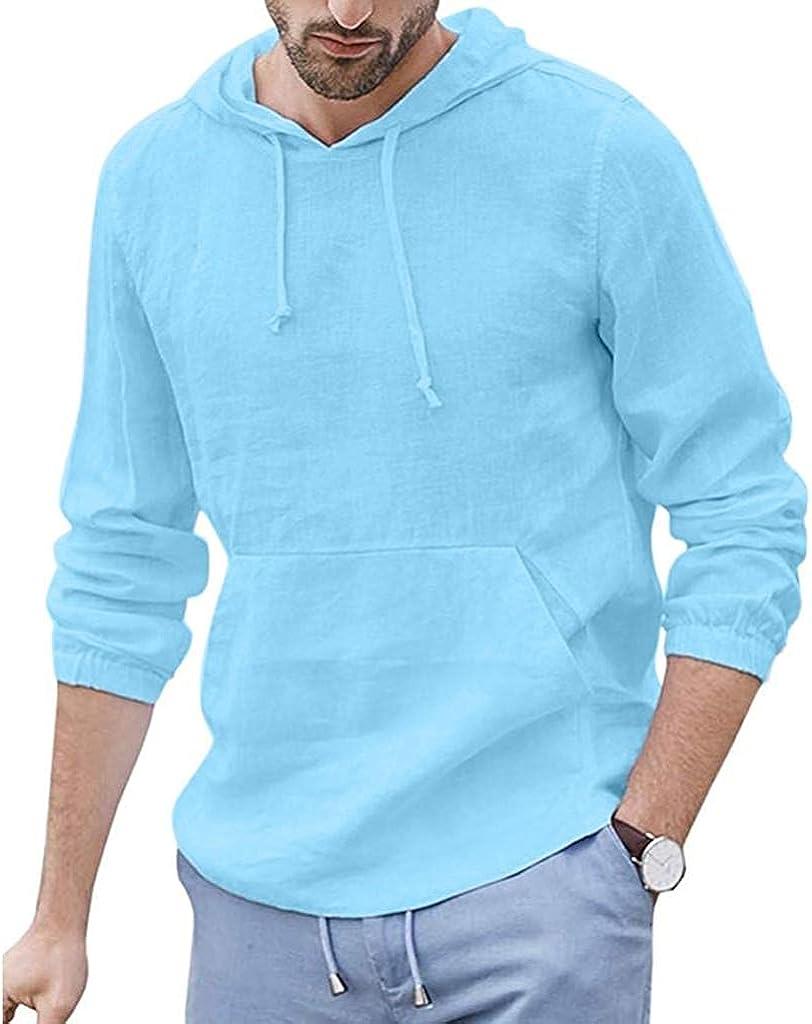 WUAI-Men Hoodie Hippie Shirts Casual Lightweight Long Sleeve Linen Henley Shirts Cotton Beach Yoga Tops Blouse
