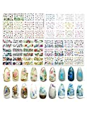 48 Sheets Self Adhesive Nail Art Stickers - Trendy Nail Stickers Mixed Style Colorful Flowers/Roses/Birds/Leaves/Peacocks DIY Acrylic Nails Stickers Suitable for Women