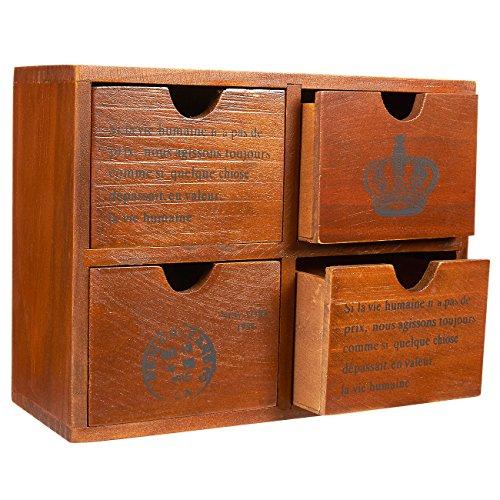 Juvale Schubladenbox mit 4 Fächern - Mini-Kommode aus Holz, Aufschrift auf Französisch– Tischorganizer für Bürobedarf, Krimskrams, Kosmetik - Braun - 26 x 9,7 x 19,7 cm