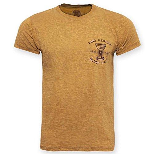 King Kerosin Retro Rockabilly T-shirt - Oilwashed Blood Pact Gold met Backprint tot 3XL