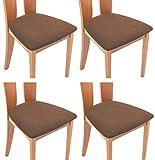 TIANSHU Funda Asiento Silla,Fundas elásticas para Asientos de sillas de Comedor y Oficina Jacquard Poliéster Elástica Fundas sillas Duradera(Paquete de 4,Café)