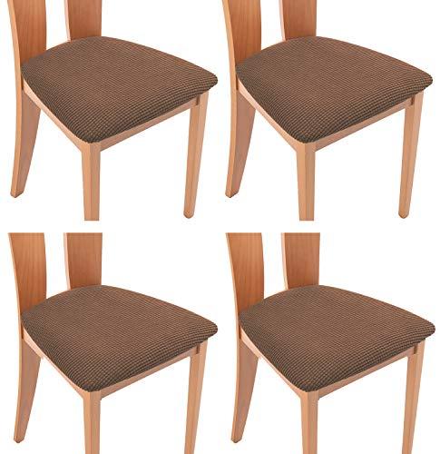 TIANSHU Coprisedili per Sedia 4 Pezzi Set,Home coprisedia Cuscino coprisedile Furniture Protector,Jacquard Cuscino Seduta Sedia da Pranzo Protezioni Chair Slipcovers(4 Pezzi Set,caffè)
