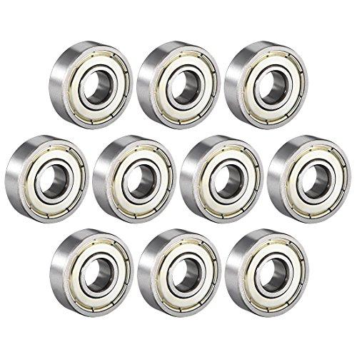 Sourcingmap a18051900ux0223 Rodamientos de bola de garganta profunda 608Z de doble blindaje, 8 mm x 22 mm x 7 mm, acero al carbono, 10 unidades