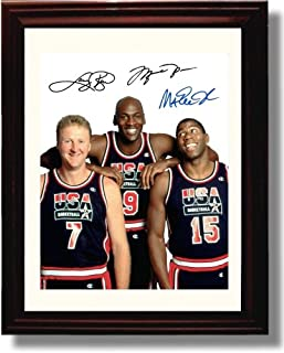 Framed Michael Jordan, Larry Bird, and Magic Johnson Autograph Replica Print - USA Dream Team
