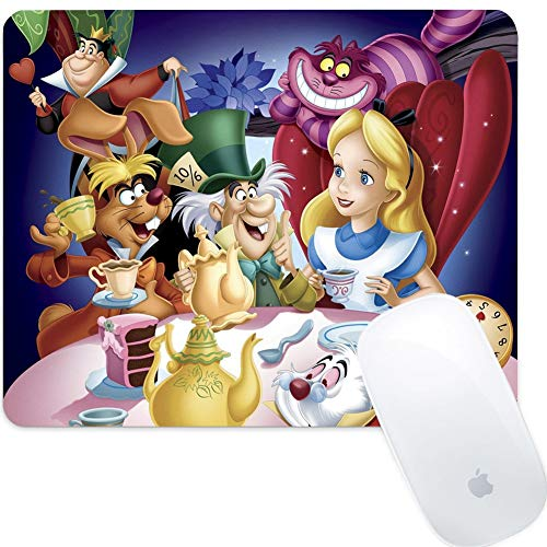 DISNEY COLLECTION Alice in Wonderland Square Round Computer Gaming Mouse Pad Skidproof High Mouse Tracking for Office, Gaming, Home