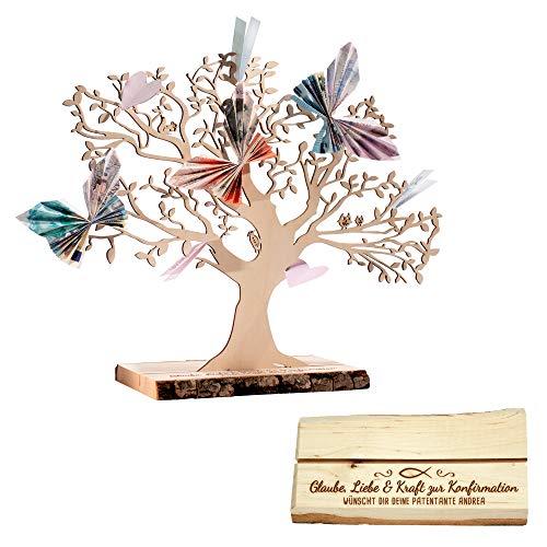 Casa Vivente Geldbaum aus Holz mit Gravur – Zur Konfirmation – Glaube, Liebe & Kraft – Personalisiert mit Namen – Erlenholz – Verpackung für Geldgeschenke – Geschenkidee für Mädchen und Jungen – Groß