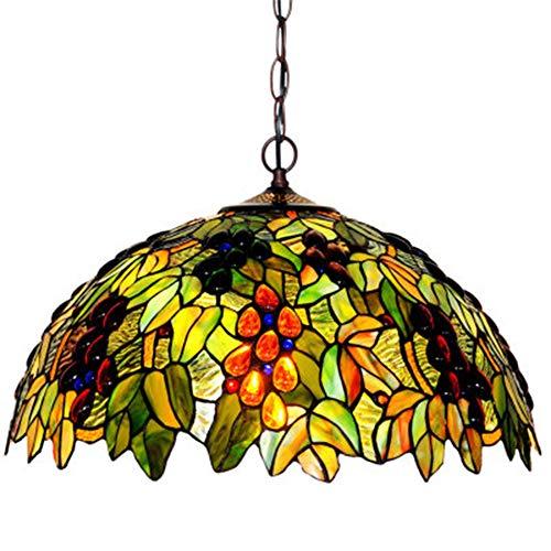 Tiffany Stile Lampadari Camera Letto, 18 Pollice Lampade A Sospensione Decorato con Frutti Colorati Paralume per Soggiorno Salotto