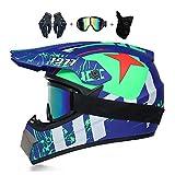 VOMI Cascos de Motocross de Moto Set con Gafas/Guantes/Máscara, Niños y Niñas Full-Face Cascos de Cross Moto Off-Road Enduro Downhill Racing Casco ATV MTB BMX Cascos de Motos,D,XL(58~59cm)