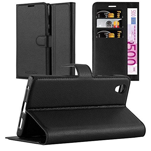 Cadorabo Hülle für Sony Xperia L1 - Hülle in Phantom SCHWARZ – Handyhülle mit Kartenfach & Standfunktion - Case Cover Schutzhülle Etui Tasche Book Klapp Style