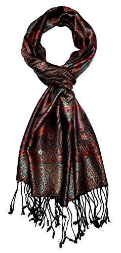 Lorenzo Cana - Seidenschal Herren Schal 100% Seide jacquard gewebt harmonische Farben mit Fransen 35 x 160 cm Paisley Muster Seidentuch