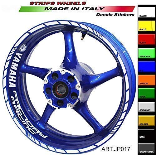 Adesivi per ruote moto Yamaha Factory Racing 17 pollici (Bianco)
